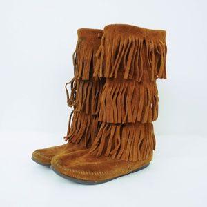 Minnetonka Calf Hi 3-Layer Fringe Boot Suede